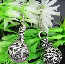 1pair  Tibetan Silver Hollow round Ball Dangle Earring about 45mm