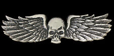 SKULL WINGS PEWTER SON OF OUT LAW NOMAD 2.25 inch BIKER  PIN