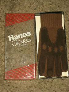 New Mens driving gloves warm knit grip palm Hanes stretch brown