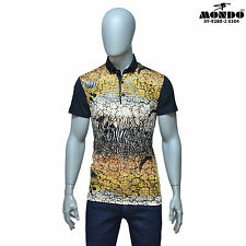 Mondo Men's Fashion multicolor fitted Short/SLEEVE Polo shirt web pattern