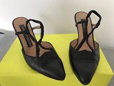 French Designer Maud Frizon black leather stiletto sling back shoes EU 37