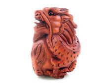 Boxwood Hand Carved Netsuke Sculpture Miniature Dragon Wrapping Ball #08071801