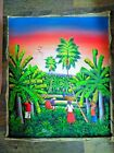 """Haiti Painting Canvas signed  24"""" x 20"""" Unframed Workers palm trees birds color"""