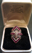Antique Victorian 14k Solid Yellow Gold Diamond & Red Ruby Gemstone Deco Ring s6