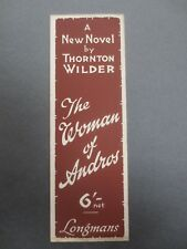 Vintage Bookmark Longmans 1930 Book Promo THORNTON WILDER The Woman of Andros