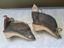 ANTIQUE 19TH C CHINESE SMALL LOTUS SHOES SILK ENBROIDERY BOUND FEET,FOOT BINDING