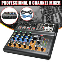 Professional 8 Channels Live Studio Audio Mixer Sound Mixing 48V Phantom Console