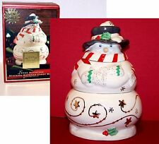 2003 NEW in Box LENOX China 3 Piece Christmas STACKING SNOWMAN Holiday CANDY BOX