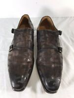 MAGNANNI Perforated Brown Leather Double Monk Strap Made in Spain