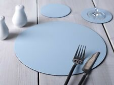 Set of 8 PASTEL BLUE ROUND Leatherboard PLACEMATS & 8 COASTERS (16 Piece Set)