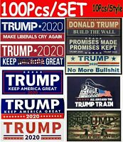 100 pcs Lots Donald Trump Bumper Stickers 2020 Keep America Great Train Sticker