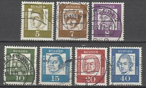 BRD 1961 Mi. Nr. 347-352+355 x weißes Papier Gestempelt LUXUS!!!