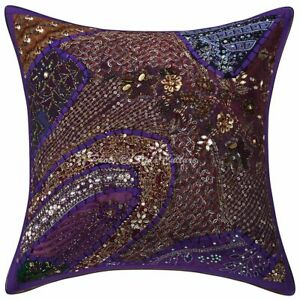 Decorative Cotton Cushion Cover Purple 16 x 16 Inch Beaded Neck Pillow Covers