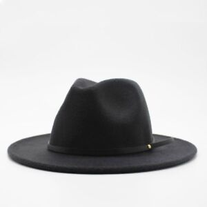New Fashion Unisex Wide Brim Fedora Panama Hat Gentleman Elegant Jazz Church Cap