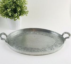 """Vintage Oval Aluminum SERVING TRAY Everlast Metal Hand Forged Large 12.5"""" dia"""