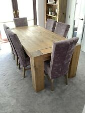 Chunky Rustic wooden dining table and 6 chairs.