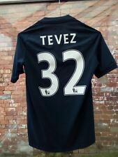 BOYS MANCHESTER CITY FC TEVEZ 32 2010-11 AWAY UMBRO BLUE FOOTBALL SHIRT SIZE 158