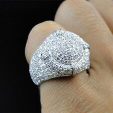 Large Micro-Pave 925 Silver Men's Cubic Zircon Bling Rings Luxury Wedding Size
