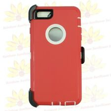"""Red White For Apple iPhone 6S Plus (5.5"""") Case w/ Clip fits Otterbox Defender"""