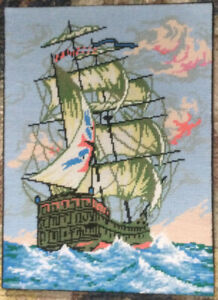 Vtg Completed Hand Embroidered Sailing Ship At Sea D'Art Collection Tall Ship