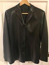 COACH Black Leather Jacket - Women's Medium - Lined - Coat