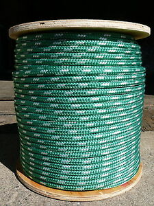 """Sailboat Rigging Rope 3/8"""" x 100' Green/White Double Braided Sheet Halyard Line"""