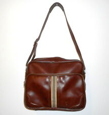 Vintage Luggage Shoulder Bag Brown Tote Stripe Tan Retro Travel Tourist Vacation