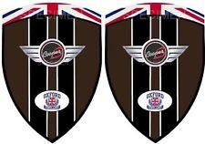 2 adhésifs stickers MINI COOPER S HOT CHOCOLATE ( idéal pour ailes avant )