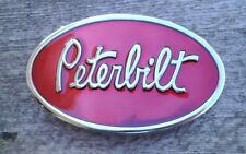 Peterbilt Truck Belt Buckle Silver With Red Enamel NEW 18 Wheeler Semi Truck