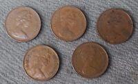 Decimal 1/2p Half Penny Queen Elizabeth II Job Lot of 5 Mixed Coins, Random Date