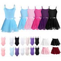 US Child Girls Ballet Dance Dress Leotards+Tutu Wrap Skirt Set Dancewear Costume