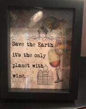Wine Save The Earth Picture Black Shadow Box Frame New