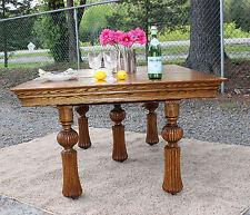 Gorgeous Antique Solid Oak FARM HOUSE Dining Table c1900!