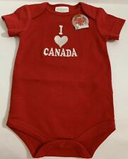 I Love Heart Canada Day Infant One Piece Romper 0-3M Red White Embroidered Nwt