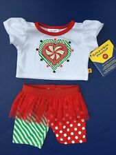 Build a Bear Clothing - Christmas Peppermint Shirt & Tutu Legging Pant Set -NEW