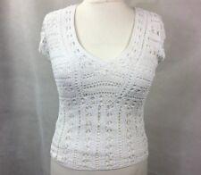 Wallis Womens Top Blouse Size L 14 Ivory Crochet UK Z2