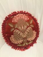 """Vintage Round Red Floral Chinoiserie Tassel Decorator Pillow Ruching Sides 12"""""""