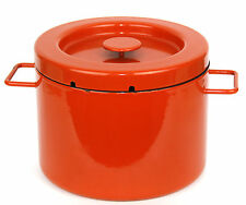 "Vintage Copco Michael Lax Deep Orange Enamelware Pot 6 7/8"" height x 9"" diameter"