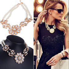 Women Crystal Pearl Chain Flower Bib Choker Statement Collar Necklace Jewelry