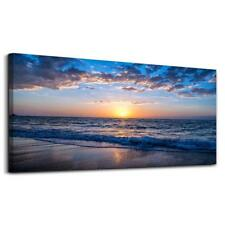 hyidecor art Wall Art Moon Sea blue Ocean Landscape Paintings Bedroom Canvas Art