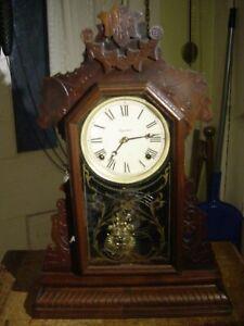 """ANTIQUE RARE E. INGRAHAM 1889 """"ASTRA"""" WALNUT SHELF PARLOR CLOCK WORKING WELL"""