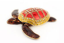 Turtle Jewelry Trinket Box Decorative Collectible Enamel Animal Sea Gift 02092A