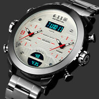 Mens Watch Quartz Digital White Dial Stainless Steel Band Analog Multifunction