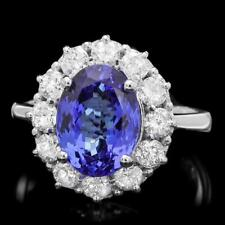 Certified 4.55cttw Tanzanite 1.10cttw Diamond 14KT White Gold Ring