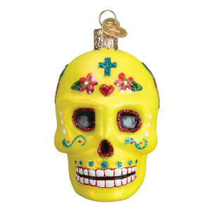 Day Of The Dead Sugar Skull Yellow Halloween Glass Ornament Old World Christmas