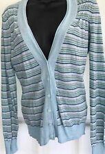 FAT FACE 12 vgc green aqua blue stripe fitted lighweight cardigan long sleeve
