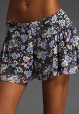 NWT Free People Navy Combo Sheer Pleat Yoke Flowy Floral Skort Shorts 12