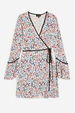 Topshop Plisse Print Wrap Mini Dress UK Size 10 EU 38 US 6