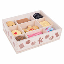 Bigjigs Toys Wooden Biscuit Box Pretend Play Food Set Lifelike Roleplay Shop