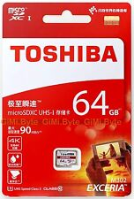 Toshiba Exceria 64 GB micro SDXC memory card 90MB Class 10 UHS U3 TF 64G extreme